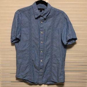 Banana Republic Linen Embroidered Shirt Mens M